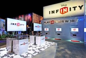 At Disney's booth on the show floor, attendees had the opportunity to create custom T-shirts with artwork from the game and also go home with interactive figures from the game from a vending machine activation three months before the pieces hit stores. Guests could also experience Disney Infinity at a variety of demo stations throughout the booth.