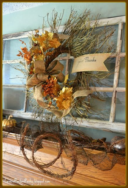 Corner of Plaid and Paisley: Thanksgiving Mantel