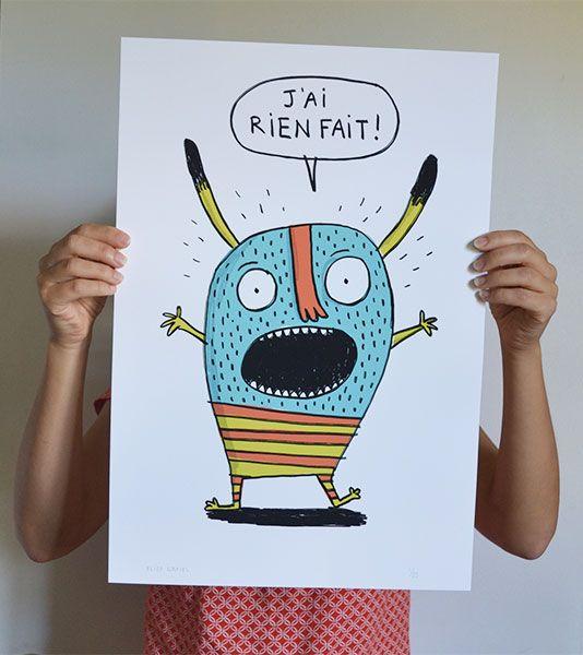 J'ai rien fait, a signed art print by Élise Gravel.
