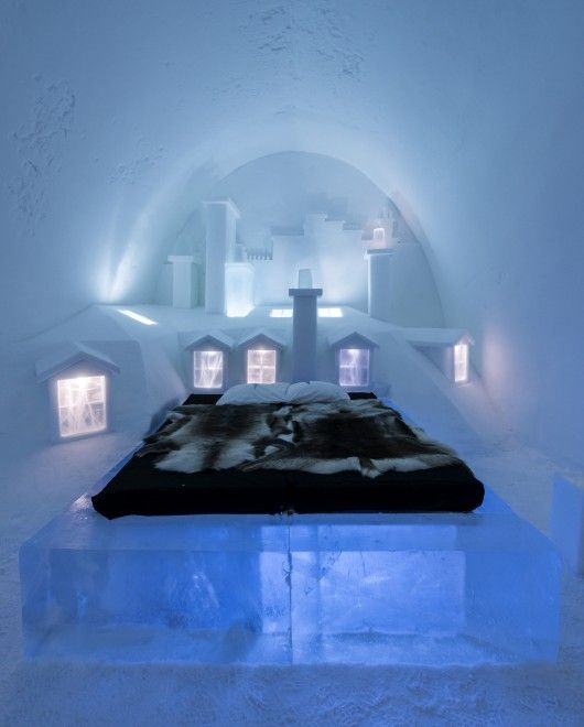 Sweden's Ice Hotel. Beautiful. The Up There Suite by artists Luc Voisin & Mathieu Brison. Image © Christopher Hauser via Arch Daily So how do we stay warm? I am going to put this on my bucket list! How about you?