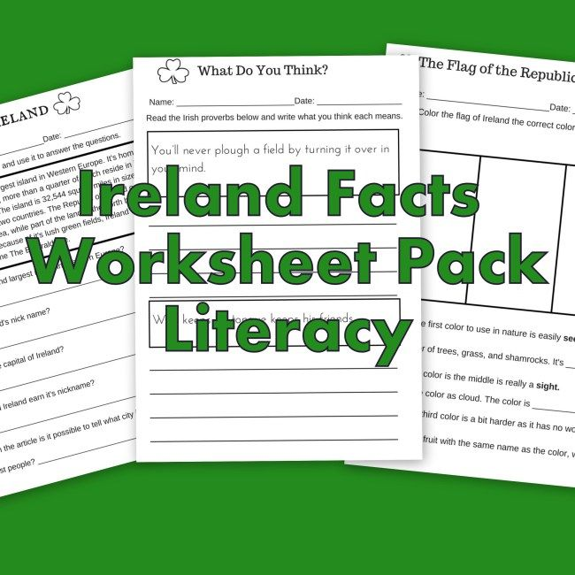 Ireland Facts Literacy Worksheets – Let's Learn about Ireland!