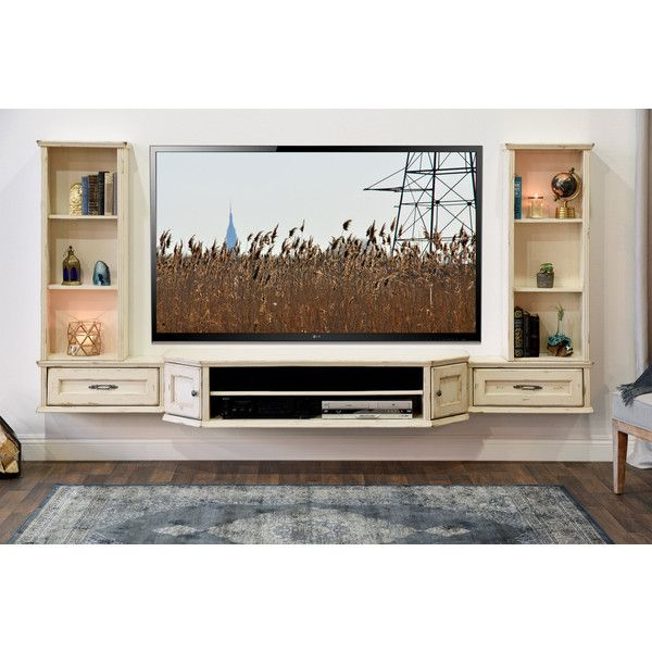 French Floating Entertainment Center Distressed Tv Stand Vintage 3... ($1,399) ❤ liked on Polyvore featuring home, furniture, storage & shelves, entertainment units, console tables & cabinets, grey, home & living, living room furniture, book display shelf and cd storage shelf