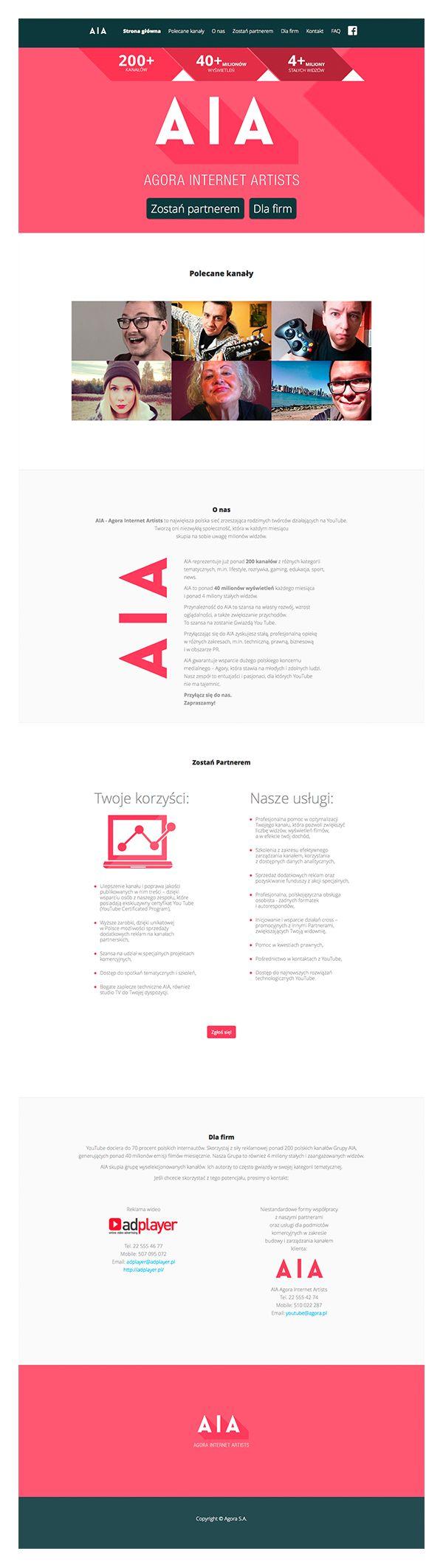 Na zlecenie Agora S.A. stworzyliśmy serwis aianetwork.pl. Strona została wykonana w technologii Responsive Web Design. Agora Internet Artist (AIA) to pierwsza i zarazem największa polska sieć zrzeszająca rodzimych twórców działających na YouTube.
