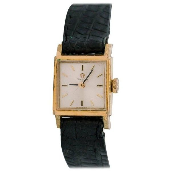 Preowned Omega Ladies Yellow Gold Square Tank Manual Wristwatch, 1950s (3.315 BRL) ❤ liked on Polyvore featuring jewelry, watches, wrist watches, yellow, retro watches, yellow dial watches, yellow gold jewelry, yellow gold watches and 14 karat gold watches