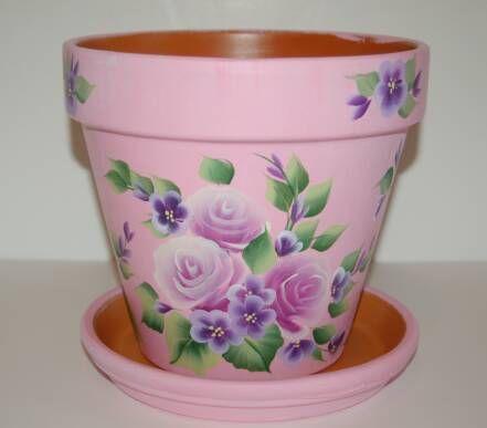 """Purple Roses / Purple flowers"" clay flower pot."
