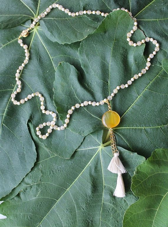 Handmade rosary with agates and chaoliti in yellow by Youniquegr
