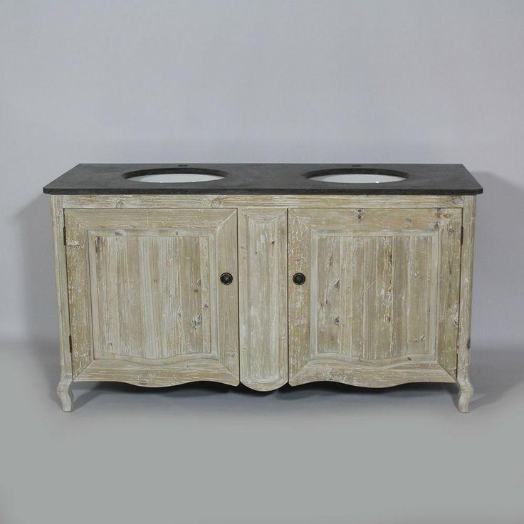 Meuble salle de bain r gence 2 portes en bois recycl for Meuble en bois recycle