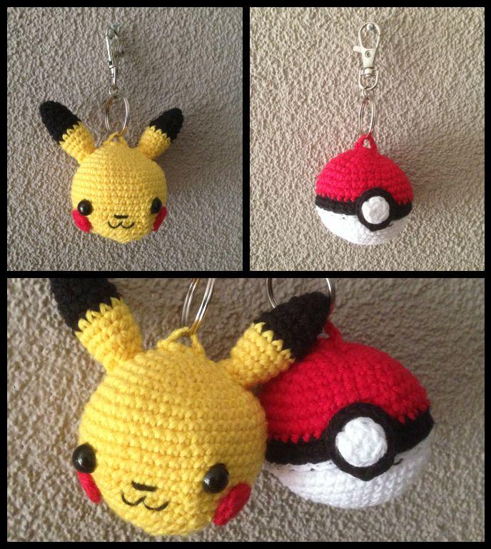 Crochet Pikachu / pokeball keychain