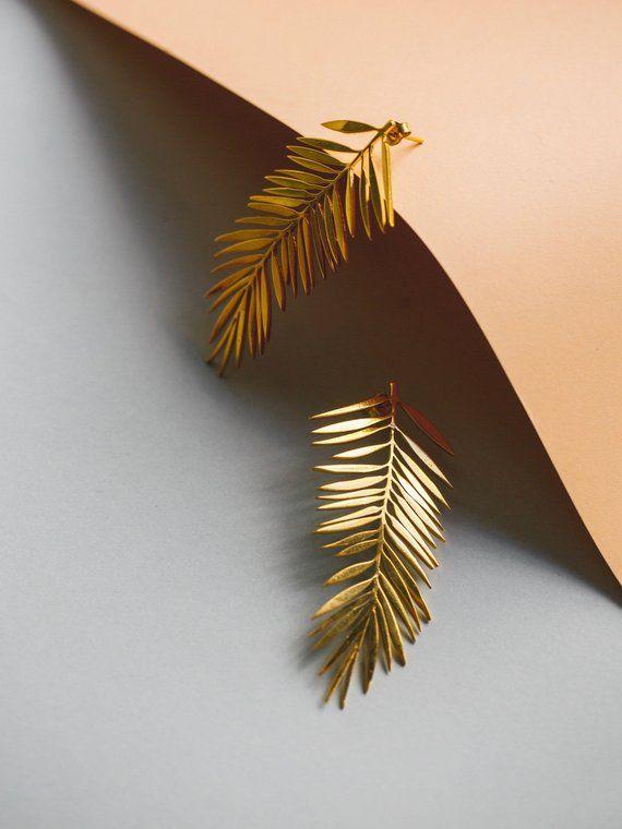 Palmenblätter Ohrringe | Ohrringe | Minimalistischen Schmuck | Vergoldete Silber Ohrhänger | Zierliche Ohrringe | Botanische Schmuck | Ohr Manschette