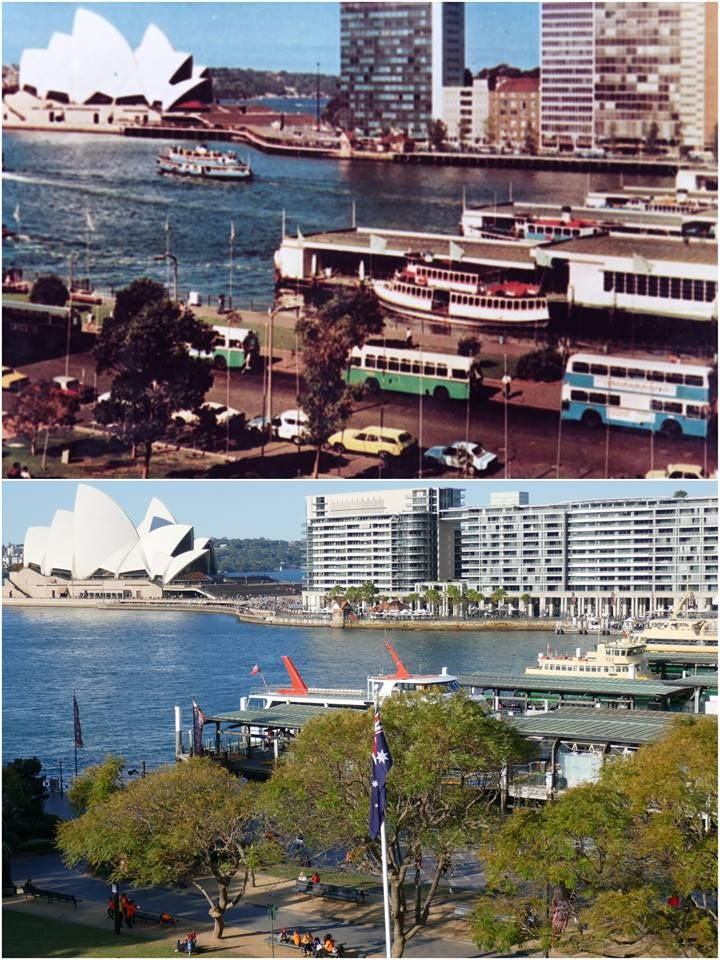 Looking N/E over Circular Quay from the Cahill Express walkway 1974 > 2016. [City of Sydney Archives > Kevin Sundgren. By Kevin Sundgren]