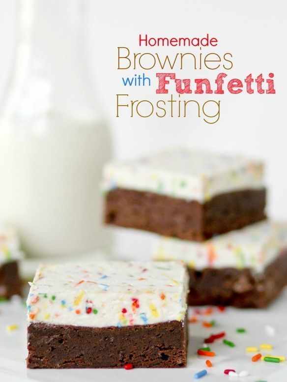 Homemade Brownies with Funfetti Frosting recipe. This Funfetti frosting is seriously one of the best frostings I've ever tasted. And paired with these brownies, it doesn't even play around.