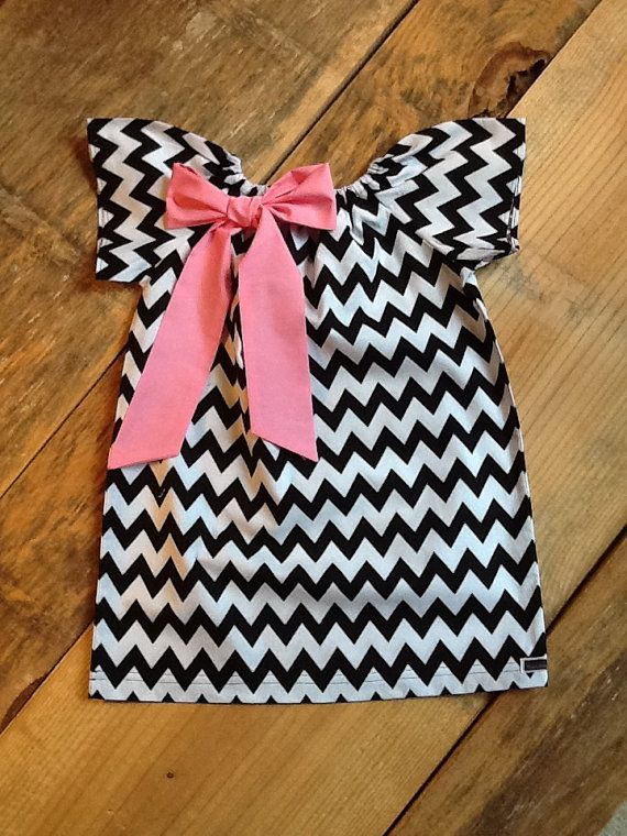 Girls Little Peasant Dress with fabric bow detail. Black white or any chevron fabric.  Custom children's clothing. By EverythingSorella