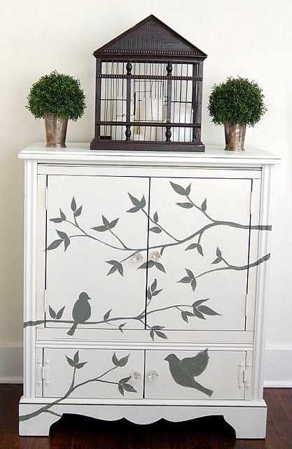 stenciled and painted armoire (This is exactly what I need!!!)