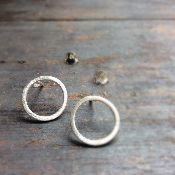 Sterling silver circle earrings, silver post earrings, simple earrings, minimalist post earrings, round post earrings