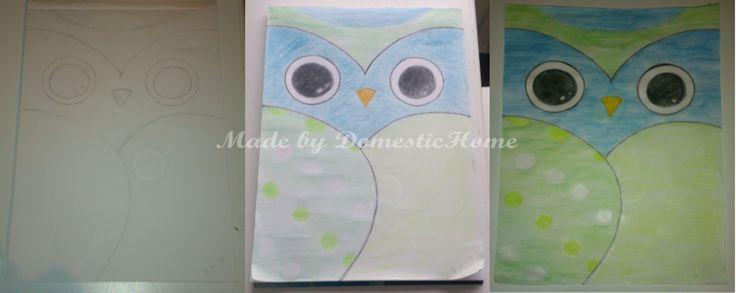 Made by DomesticHome / Uil op papier van links naar rechts schets / ingekleurd / aquarelle potloden