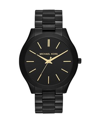 Mid-Size Black Stainless Steel Runway Three-Hand Watch by Michael Kors at Neiman Marcus.