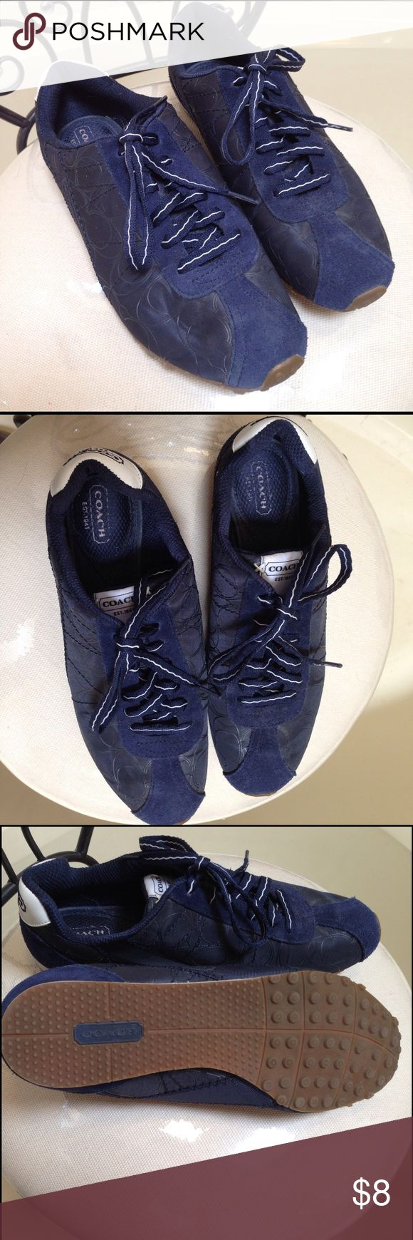 Used Coach tennis shoes Navy blue Coach tennis shoes. Previously worn but in good condition Shoes Sneakers