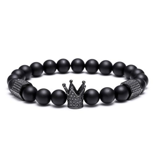 Northskull Men Titanium Steel Skull & Crown 8mm Onyx Beads Stone Charm Bracelet $6.99