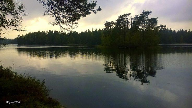 Meikon järvi rannalta.  Meikon ulkoilualue.Kirkkonummen keskustasta, noin 10 minuutin ajomatkan päässä pohjoiseen