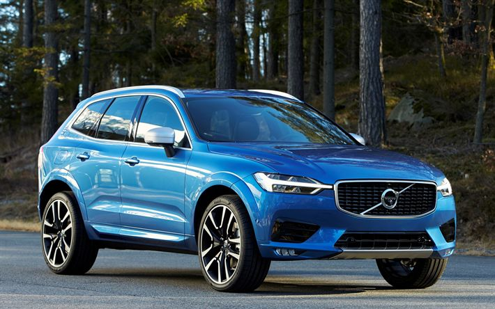 Download wallpapers new XC60, 2018 cars, Volvo XC60, crossovers, blue XC60, Volvo