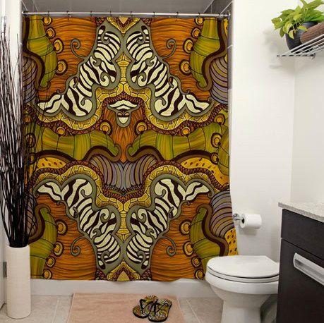 Caravan printed shower curtain bathroom decor home for African bathroom decor ideas