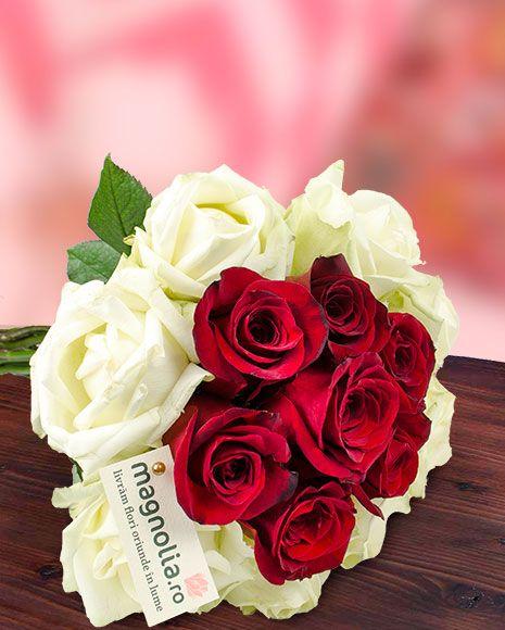 Buchet trandafiri albi şi trandafiri roşii . Buchet de Valentine's Day pentru a face persoanei iubite o surpriza deosebita!
