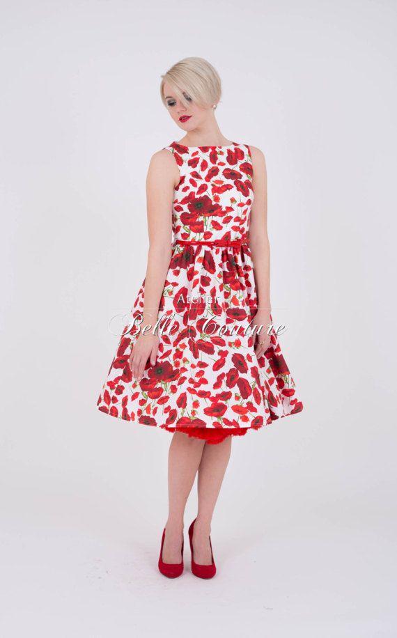 Poppy Flower Dress Betty In 50s Style 50er Jahre Stil Klassisches Kleid Kleider