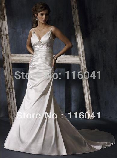 Глубокий V декольте Sexy Бисером Свадебные Платья Империя узелок вернуться Классический Обычай делать Спагетти Ремень