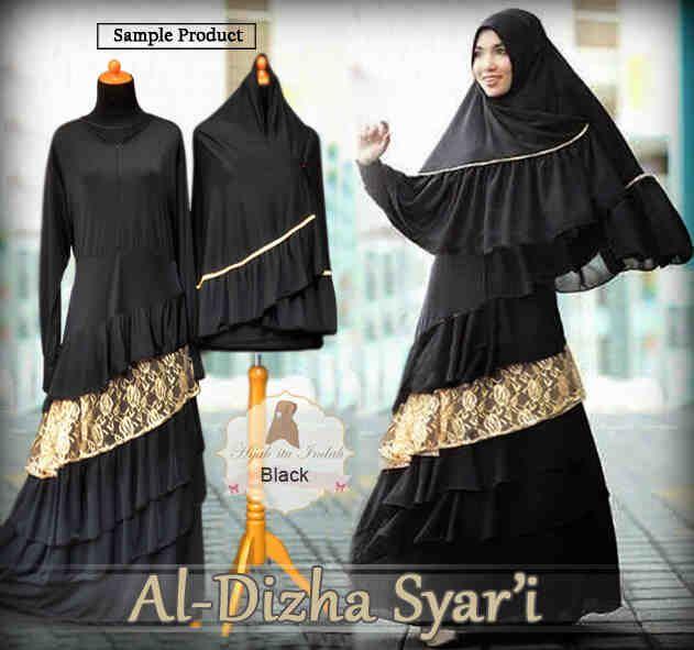 Gamis Syar'i Modern AL-DHIZHA SYARI BLACK - http://warongmuslim.com/gamis-syari/gamis-syari-modern-al-dhizha-syari-black/