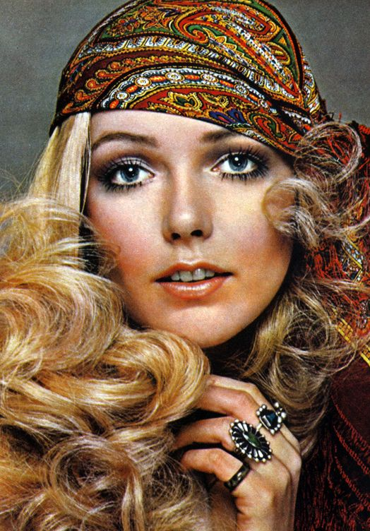 1970's Curls and Makeup, Complete with Patterned Bandanna and Flashy Rings