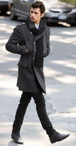 mens fashion, coat, scarf, black, winter