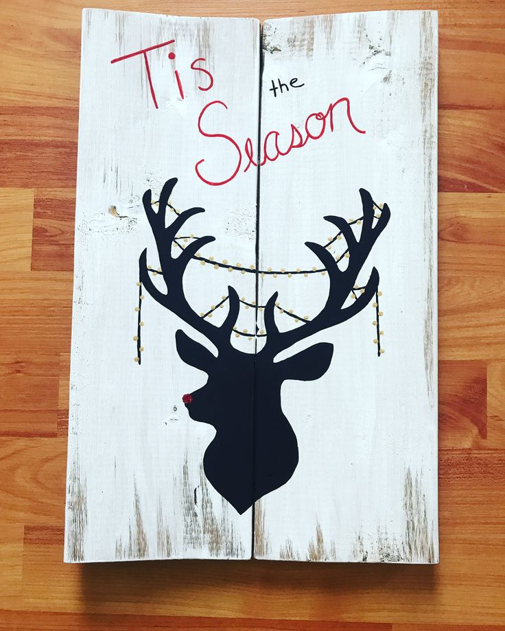 Wood sign. Signs. Christmas sign. Holiday sign. 'Tis the season. Deer. Lights. Sparky nose. Rudolph.