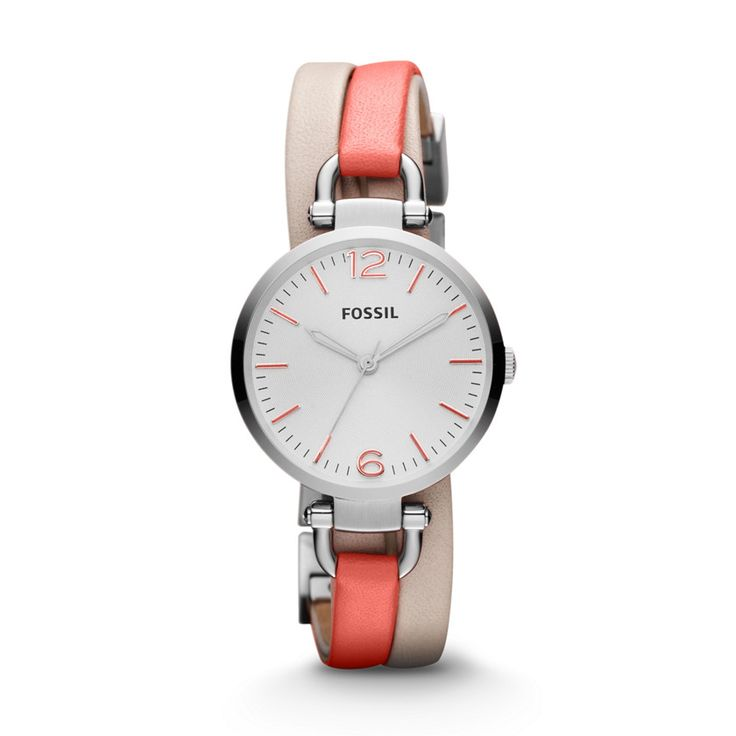 Georgia Three Hand Leather Watch – White and Coral   FOSSIL®