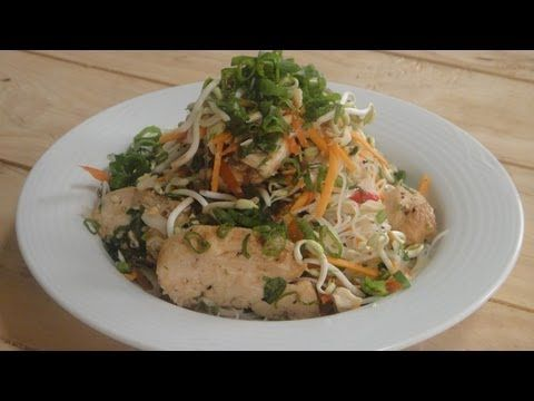 Asian Glass Noodle and Chicken Salad | Vegetarian Video Recipe by chef Sanjeev Kapoor.