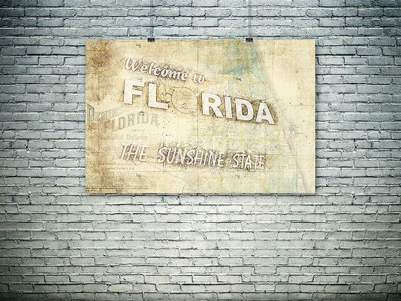 Florida map collage 19th century map old map gift by PasteUpStore