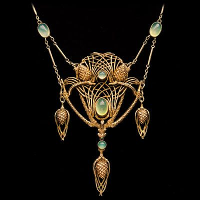 JEAN-ETIENNE DIMANCHE born Paris 'Fir Cone Necklace' Gilded silver Chalcedony H: 9.2 cm (3.62 in) W: 6.2 cm (2.44 in) Marks: Marked: 'JD' French, c.1910