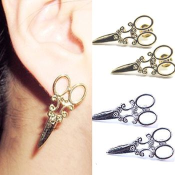 3 pares 2014 punk gótico atacado ouro e prata tesoura brinco para mulheres punk chique orelha stud brincos