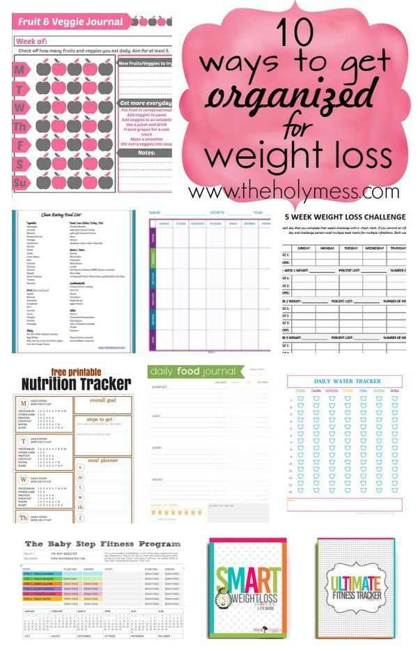 Need to lose weight? I've lost 100 pounds, and my advice is one of the most important first steps is to get organized for exercise, diet, the kitchen, goals, life, and healthy eating! Here are 10 planners I recommend (most free!), all printable so you can start immediately, to help you get organized fast. 10 Ways to Get Organized for Weight Loss|The Holy Mess