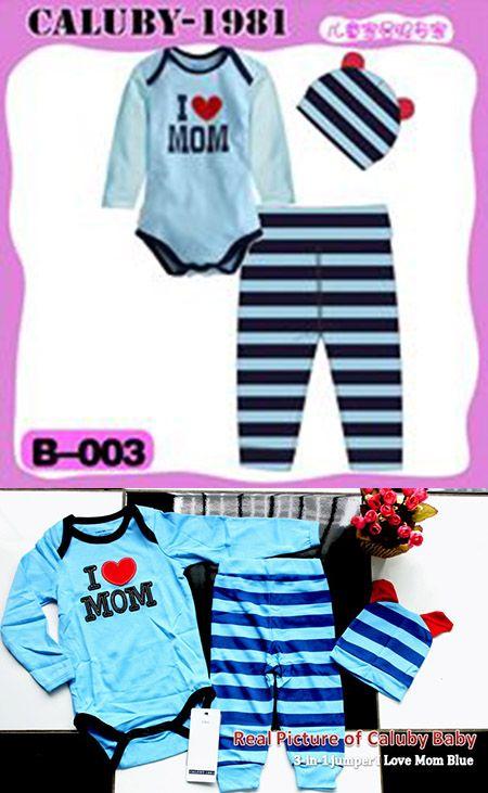Caluby Baby 3-in-1 jumper I Love Mom Blue   k-babynkids.com   Grosir Perlengkapan Bayi, Aksesoris Bayi, Mainan Bayi