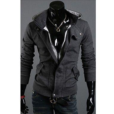 mannen plus size lappendeken zwart / grijs hoody, casual afslanken hooded lange mouwen rits 2015 – $16.67