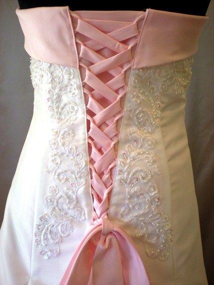 Wedding dress: Pink corset back detail of wedding gown | Wedding ...