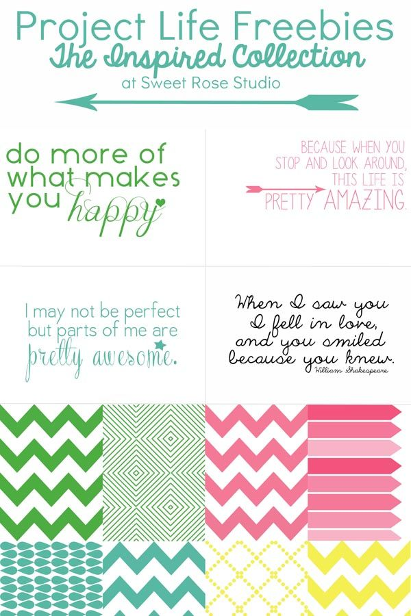 Download these #ProjectLife Freebies -- The Inspired Collection at Sweet Rose Studio! The set includes 4 4x6 inspirational quotes and 8 3x4 patterned filler cards. Sweet!