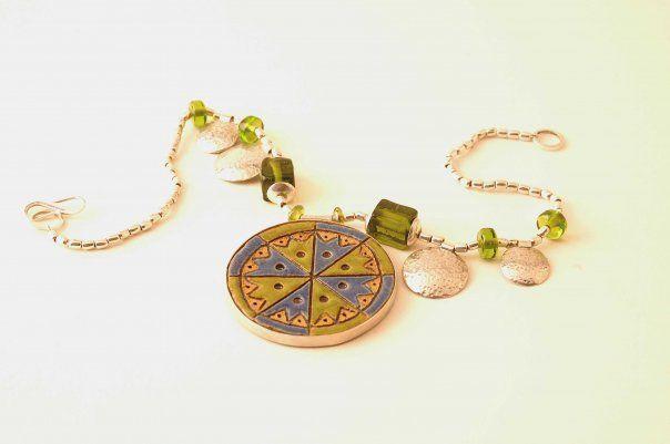 Maggie Sierralta - ethnic necklace - ceramic, silver, stones