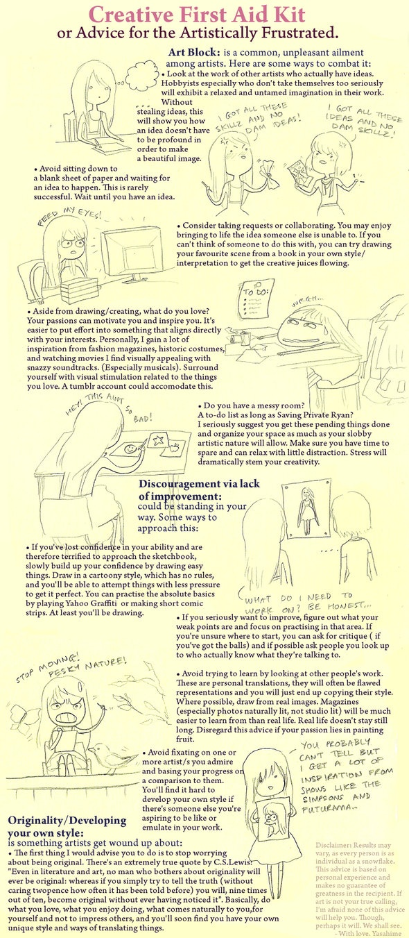 """Creative First Aid Kit ... lots of ideas for """"the artistically frustrated""""Drawing Helpful, Artists Frustration, Inspiration Heart, Drawing Techniques, Drawing Sculpting, Helpful Artis, First Aid Kits, Creative Slumping"""