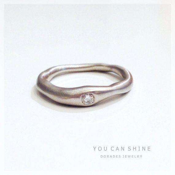 organic white gold ring with diamond