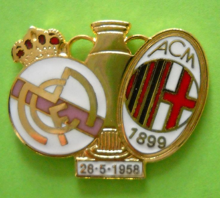 DISTINTIVO SPILLA PIN BADGE - REAL MADRID-MILAN - COPPA DEI CAMPIONI 1958