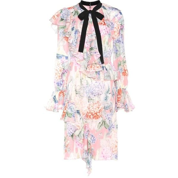 Gucci Floral Printed Silk Dress ($4,300) ❤ liked on Polyvore featuring dresses, multicoloured, gucci dress, flower print dress, floral day dress, colorful dresses and multi colored dress