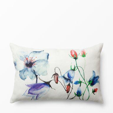 Prydnadskudde med blomstermotiv, 40x60 cm, marinblå