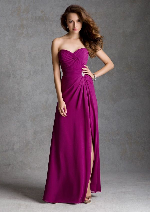 In Eggplant for Mel's wedding! Bridesmaid Dress From Bridesmaids By Mori Lee Dress Style 692 Chiffon with Beaded Brooch