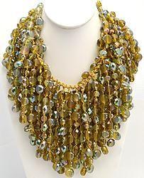 Handmade Green Flat Genuine Crystal Necklace